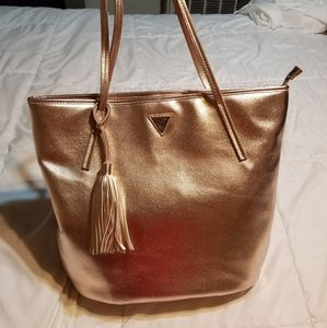 Guess Metallic Rose Gold Handbag Tote Satchel